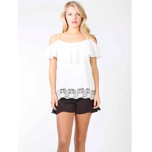 VaVa by Joy Han Cold Shoulder Crochet Top Blouse